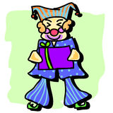 Hand-drawn joker with gift. Illustration Royalty Free Stock Images