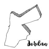 Hand drawn of Jordan map. Illustration Royalty Free Stock Photos