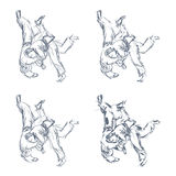 Hand Drawn Judo Throw Isolated Vector. Illustration Royalty Free Stock Images