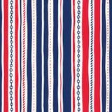 Hand-Drawn Kabel en de Strepen Vector Naadloos Patroon van Kettingen Ongelijk Verticaal Strepen Rode Witte en Blauwe Marine Backg stock illustratie