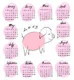 Hand-drawn kalender voor 2019 met vector illustratie