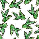 Hand-drawn Kerstmis naadloos patroon Groene tak van de Kerstboom op een witte achtergrond royalty-vrije illustratie