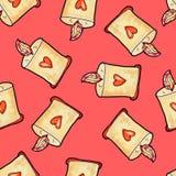 Hand-drawn Kerstmis naadloos patroon Kerstmiskaars met hart tegen op een rode achtergrond Gelukkig Nieuwjaar royalty-vrije illustratie