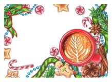 Hand-drawn Kerstmisdecoratie royalty-vrije illustratie