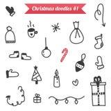 Hand-drawn Kerstmiskrabbels op witte achtergrond worden geïsoleerd die Stock Afbeelding