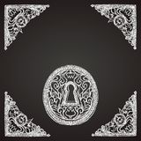 Hand drawn keyhole on chalkboard Royalty Free Stock Photo