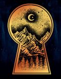 Keyhole with nature pine forest mountain landscape. Hand drawn keyhole with vintage nature pine forest mountain landscape, beautiful moon, sky. Isolated vintage Royalty Free Stock Photos