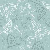 Hand drawn keys, houses and trees. Seamless pattern can be used for wallpaper, pattern fills, web page background Royalty Free Stock Image