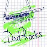 hand drawn keytar postcard stock illustration