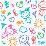 Hand drawn kid pattern Royalty Free Stock Photo