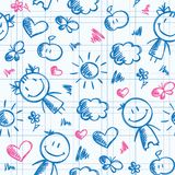 Hand drawn kid pattern Royalty Free Stock Photos