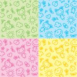 Hand drawn kid patterns Stock Images