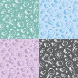 Hand drawn kid patterns Royalty Free Stock Photo