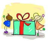 Hand-drawn kids with the gift box Royalty Free Stock Photo