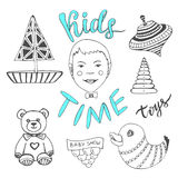Hand drawn kids toys with boy and lettering - Kids Time. Childish doodle icons vector set. Royalty Free Stock Image