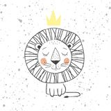 Hand drawn king lion for kids T-shirt design, greeting card with blur background, cute childish king of the jungle - Royalty Free Stock Image