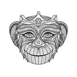 Hand drawn king of monkeys coloring page. Stock Images