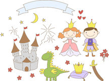 Hand drawn kingdom set with prince, princess, dragon, castle and ribbon banner Stock Photo