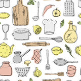 Hand drawn kitchen elements seamless pttern Stock Image