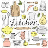 Hand drawn kitchen elements Royalty Free Stock Image