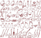 Hand-drawn kitchen goods. Stock Image