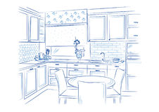 Hand drawn kitchen interior sketch design. Vector illustration Stock Photography