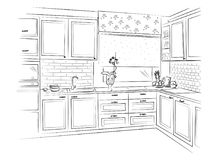 Hand drawn kitchen interior sketch design. Vector illustration. Hand drawn kitchen interior sketch design. black vector illustration on white background Royalty Free Stock Image