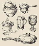 Hand drawn kitchen set Royalty Free Stock Photography