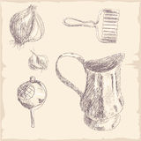 Hand drawn Kitchen Tools Set Stock Photo