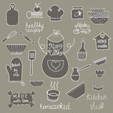 Hand drawn kitchen tools set Kitchen utensils  Kitchen equipment collection Kitchen doodles Rustic kitchen Stock Images