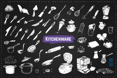 Hand drawn kitchen utencils. Chalk vector icons. Hand drawn kitchen utencils. Set of kitchenware chalk drawing style vector icons on black background. Vintage royalty free illustration
