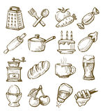Hand drawn kitchen. Vector hand drawn kitchen icons set on white Stock Image