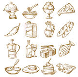 Hand drawn kitchen. Vector hand drawn kitchen icons set on white Stock Images