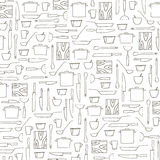 Hand drawn kitchenware black and white background stock image