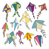 Hand Drawn Kites Stock Images