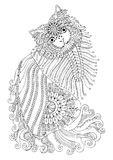 Hand drawn kitten. Sketch for anti-stress coloring page. royalty free illustration