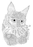 Hand drawn cat. Sketch for anti-stress coloring page. Royalty Free Stock Photos