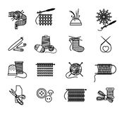 Hand drawn knitting, embroidering and sewing icons Stock Photo