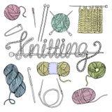 Hand drawn knitting set Royalty Free Stock Photography