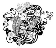 Hand drawn Koi fish and flower japanese tattoo style isolate on white background. Beautiful line art Koi carp tattoo design ,Beautiful doodle art Koi carp tattoo Royalty Free Stock Photography