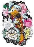 Beautiful, colorful Koi carp with water splash, lotus and peony flower. Traditional Japanese tattoo design. Hand drawn koi fish with flower tattoo for Arm Royalty Free Stock Photos