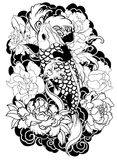 Beautiful, colorful Koi carp with water splash, lotus and peony flower. Traditional Japanese tattoo design. Royalty Free Stock Photography