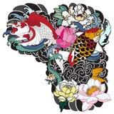 Beautiful, colorful Koi carp with water splash, lotus and peony flower. Traditional Japanese tattoo design. stock illustration