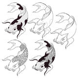 Hand drawn Koi fish isolate vector set and  Japanese tattoo. Hand drawn Koi carps isolate vector set for  Japanese tattoo Stock Photo