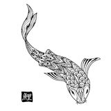 Hand drawn koi fish. Japanese carp line drawing for coloring book. Doodle. Characters meaning carp Royalty Free Stock Photos