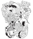 Japanese Koi fish with peony flower and wave tattoo,Japanese tattoo for Back body. Hand drawn Koi fish with peony flower and wave tattoo,Japanese tattoo for Back Royalty Free Stock Photography