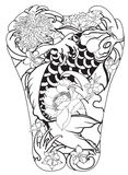 Japanese Koi fish with peony flower and wave tattoo,Japanese tattoo for Back body. Hand drawn Koi fish with peony flower and wave tattoo,Japanese tattoo for Back Stock Photography