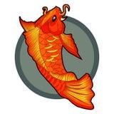 Hand drawn koi fish tattoo. beautiful vector illustration of orange koi fish. Royalty Free Stock Photography