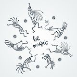 Hand drawn Kokopelli circle. Stylized mythical characters playing flutes. Be music. Hand drawn Kokopelli circle. Stylized mythical characters playing flutes stock illustration