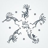 Hand drawn Kokopelli circle. Stylized mythical characters playing flutes. Let it Rock. Hand drawn Kokopelli circle. Stylized mythical characters playing flutes royalty free illustration